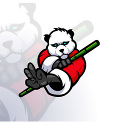 Panda holding bamboo vector