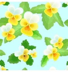 Pansies on a Blue Background vector image