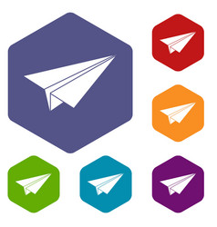 Paper airplane icons set hexagon vector