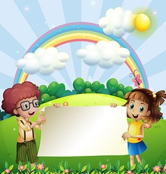 Paper design with boy and girl in the park vector