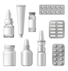 realistic medical packages pharmaceutical vector image