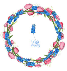 Round garland with spring flowers tulips and vector