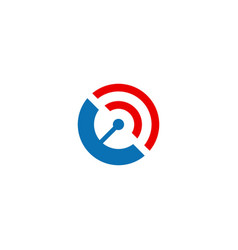 round signal radar technology logo vector image