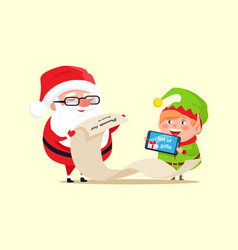 Santa claus and elf checking out gift list icon vector
