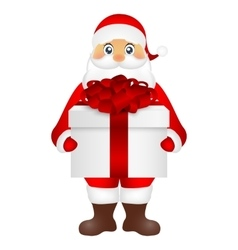 Santa Claus with a gift on white background vector