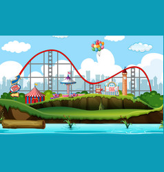 Scene background design with roller coaster and vector