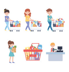 Seller cashier and customers with carts and food vector