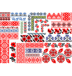 Set 30 seamless ethnic patterns for embroidery vector