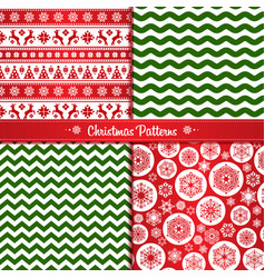 Set christmas seamless patterns of red and green vector