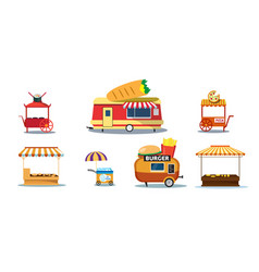 set creative food trailers street fast food vector image