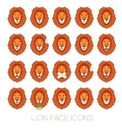 set lion faces vector image