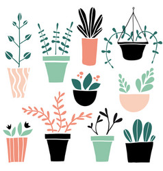 set of cute colorful hand drawn flower pots vector image