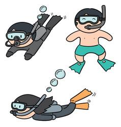 set of diver vector image