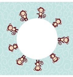 Set of funny brown monkey boys and girls on blue vector