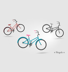 Set realistic bicycles modern style ideal vector