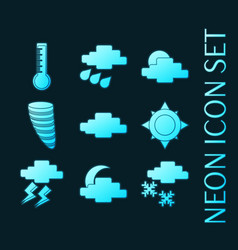 Set weather blue glowing neon icons vector