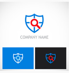 shield search guard technology logo vector image