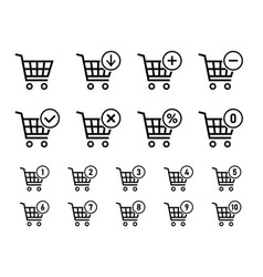 shopping cart sign set for website shopping vector image