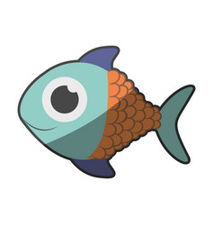 silhouette multicolor pastel of fish with big eye vector image vector image