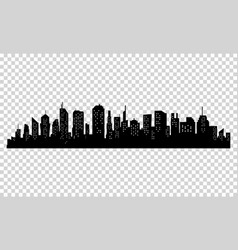 Silhouette of city with black color on white vector