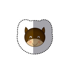 Small sticker colorful picture face cute bull vector