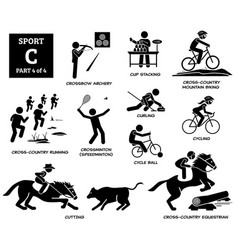 Sport games alphabet c icons pictograph crossbow vector
