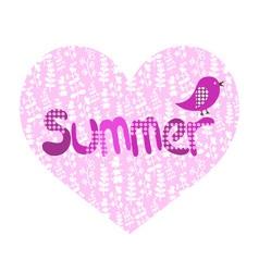 summer heart and bird vector image