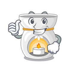 Thumbs up therapy aroma lamp and candle character vector