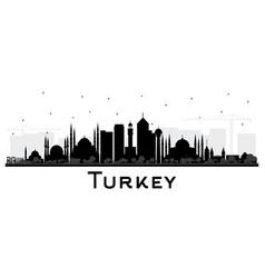 turkey city skyline silhouette with black vector image