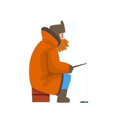 Warmly dressed man fishing in a frozen river with vector