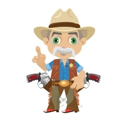 Wise grandpa cartoon character in Wild West vector image