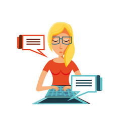 woman with laptop and speech bubbles vector image