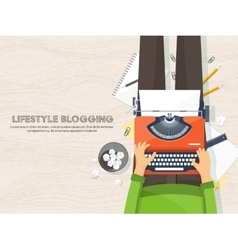 Workplace with typewriter flat designwriting vector