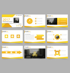 Yellow abstract presentation templates infographic vector