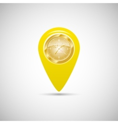 Yellow marker for maps with watch vector image