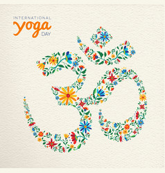 Yoga day card of om india spiritual symbol vector