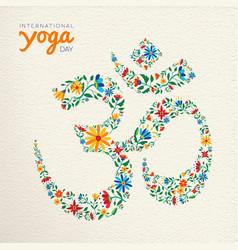 Yoga day card om india spiritual symbol vector