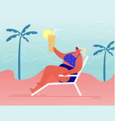 young woman lounging and drinking cocktail vector image