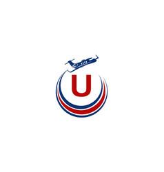Airplane logo initial u vector