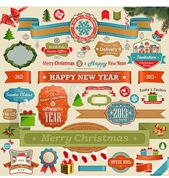 Christmas set - vintage ribbons vector image vector image