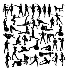 woman sport fitness and gym activity vector image vector image