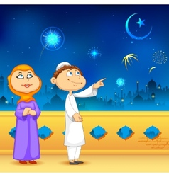 Eid ka chand mubarak vector image vector image