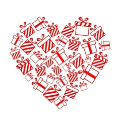 gift boxes in the heart shape vector image