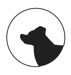 Silhouette of a dog head border collie vector image vector image
