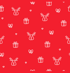 winter reindeer red seamless pattern christmas vector image