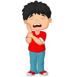 Cartoon little boy toothache vector image vector image
