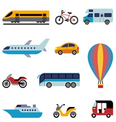 Colorfull flat transport icons vector image vector image