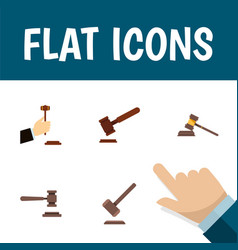 flat icon hammer set of justice legal tribunal vector image vector image