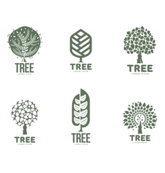 Set of stylized abstract graphic tree logo vector