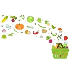 Shopping basket with fresh vegetables Flat design vector image
